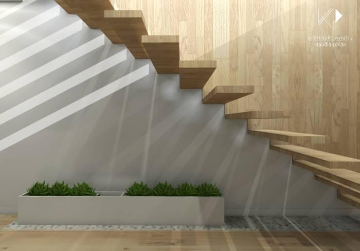 Schody : styl , w kategorii Korytarz, przedpokój zaprojektowany przez Architekt wnętrz Klaudia Pniak