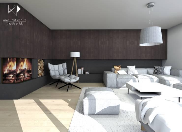 Ciemne drewno w salonie : styl , w kategorii Salon zaprojektowany przez Architekt wnętrz Klaudia Pniak