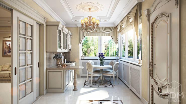 Проект 023: кухня + столовая + зимний сад: Кухни в . Автор – студия визуализации и дизайна интерьера '3dm2',