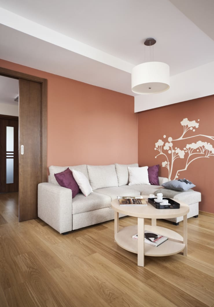 Nowoczesne mieszkanie na poddaszu : styl , w kategorii Salon zaprojektowany przez ARTEMA  PRACOWANIA ARCHITEKTURY  WNĘTRZ ,Nowoczesny
