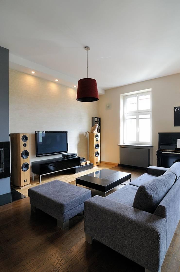 Apartament w sercu Krakowa : styl , w kategorii Salon zaprojektowany przez ARTEMA  PRACOWANIA ARCHITEKTURY  WNĘTRZ