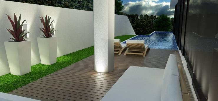 Residência Aventador: Jardins de inverno  por ANNA MAYA & ANDERSON SCHUSSLER