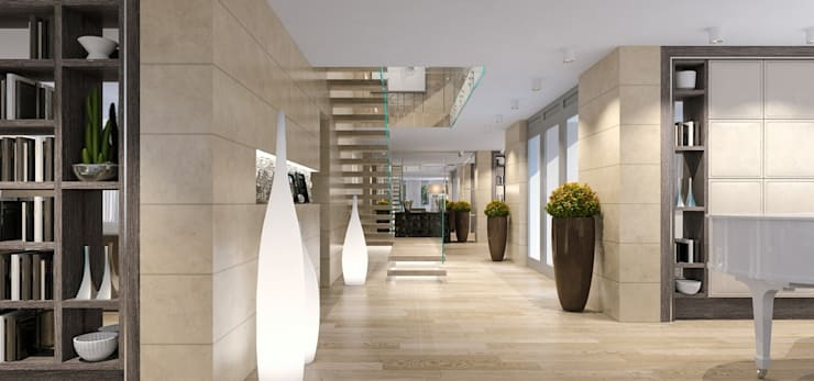 Интерьер двухуровневой квартиры, Швейцария, Локарно: Коридор и прихожая в . Автор – LOFTING