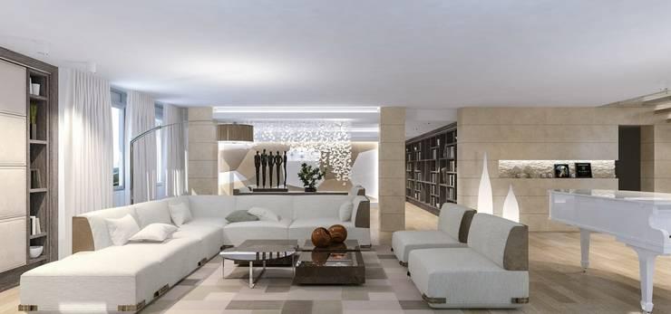 Интерьер двухуровневой квартиры, Швейцария, Локарно: Гостиная в . Автор – LOFTING