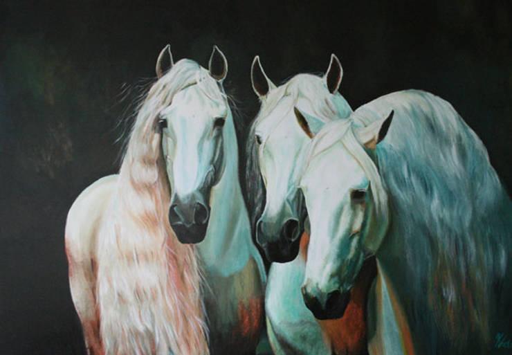 Lusitano's:  Kunst  door www.paardenschilderijen.com