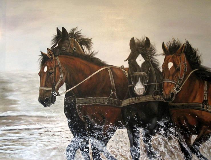 Amelandse paarden:  Kunst  door www.paardenschilderijen.com