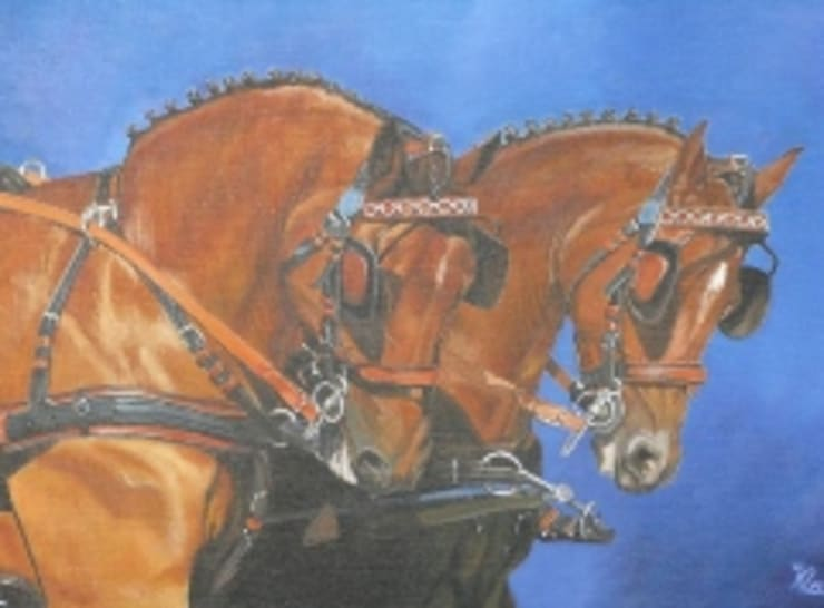 Voor de koets:  Kunst  door www.paardenschilderijen.com