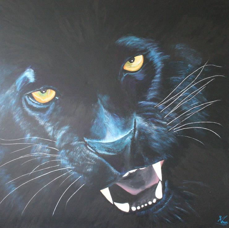 Black panther:  Kunst  door www.paardenschilderijen.com