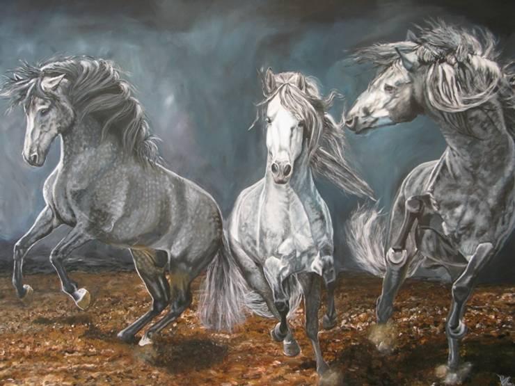 Lusitano's explosion:  Kunst  door www.paardenschilderijen.com