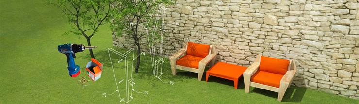 Buitenmeubels zelf maken:  Tuin door Neo Eko Designmeubel Werktekeningen