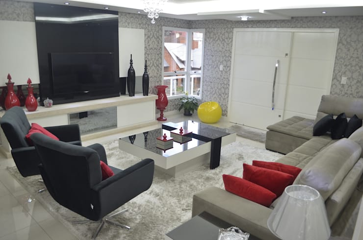 Sala Estar - painel TV: Salas de estar  por Ésse Arquitetura e Interiores
