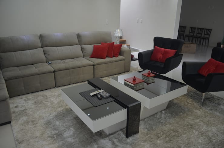 Mesa de centro - Sala estar:   por Ésse Arquitetura e Interiores,Minimalista