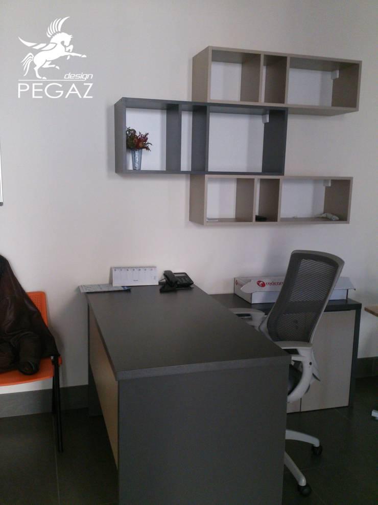 Miejsce pracy- projekt biurka i szafek: styl , w kategorii Pomieszczenia biurowe i magazynowe zaprojektowany przez Pegaz Design Justyna Łuczak - Gręda