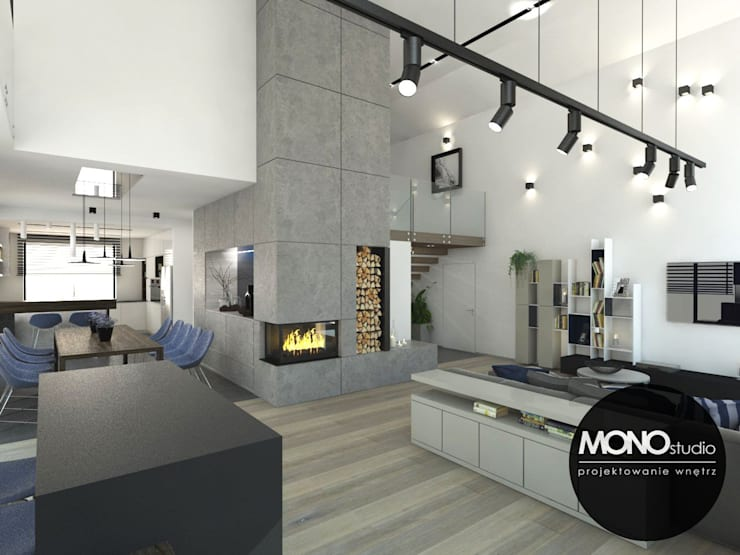 Nowoczesny dom : styl , w kategorii Salon zaprojektowany przez MONOstudio