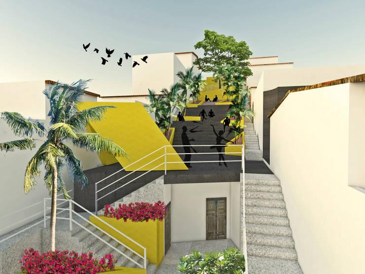 Plaza Josefa Ortiz: Jardines de estilo  por Taller/MT