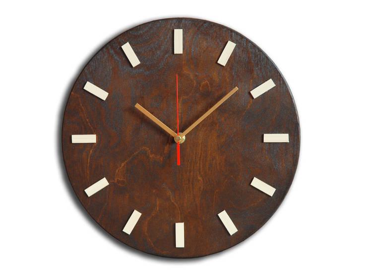 Scandi Clock - zegar drewniany 30 cm, wenge: styl , w kategorii Domowe biuro i gabinet zaprojektowany przez Silva Design