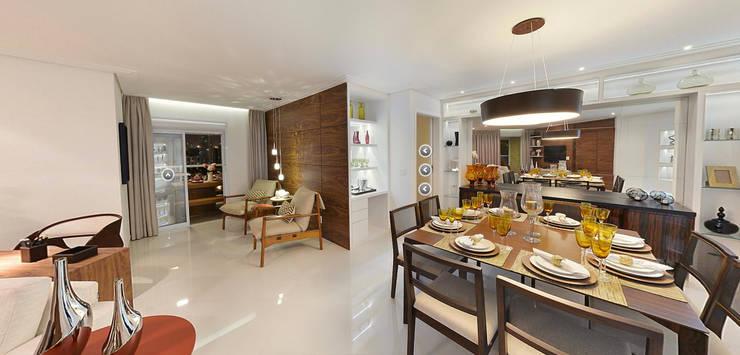 Maison Brodeaux: Salas de jantar  por Aline Dinis Arquitetura de Interiores,
