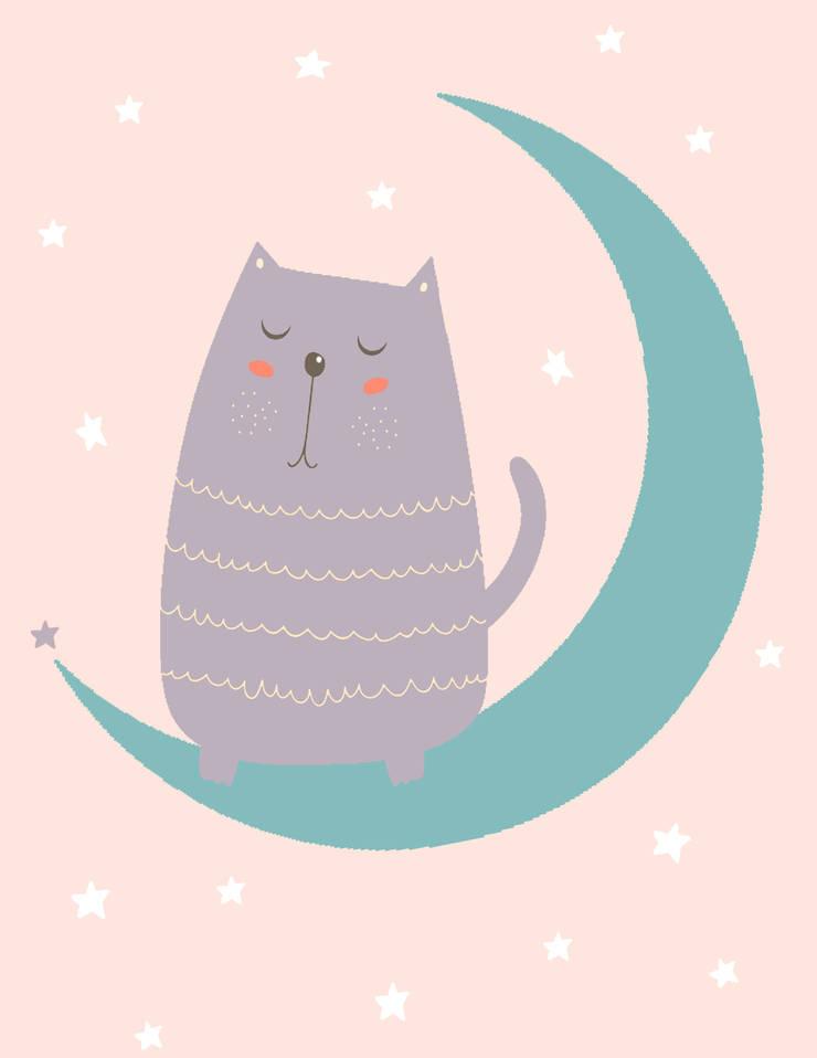Kot śpioch - urocza ilustracja do pokoju dziecka: styl , w kategorii  zaprojektowany przez Make My Wall,Skandynawski Papier