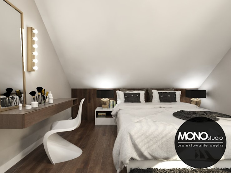 Elegancka,stylizowana sypialnia dla oryginalnego przedsiębiorcy. Nowoczesna sypialnia od MONOstudio Nowoczesny Kompozyt drewna i tworzywa sztucznego