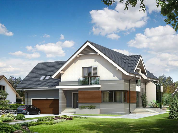 Elewacja frontowa projektu Jaspis 6: styl , w kategorii Domy zaprojektowany przez Biuro Projektów MTM Styl - domywstylu.pl