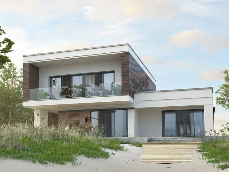 Elewacja ogrodowa projektu Asteria: styl , w kategorii Domy zaprojektowany przez Biuro Projektów MTM Styl - domywstylu.pl
