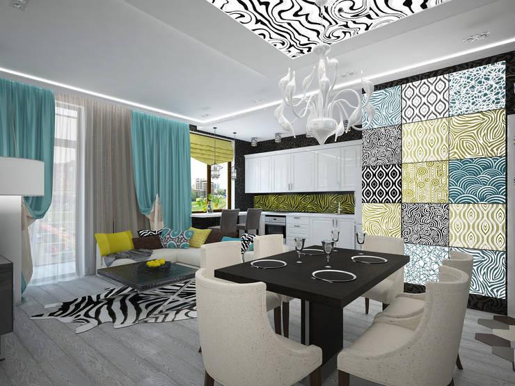 изысканный фьюжн: Гостиная в . Автор – Decor&Design,