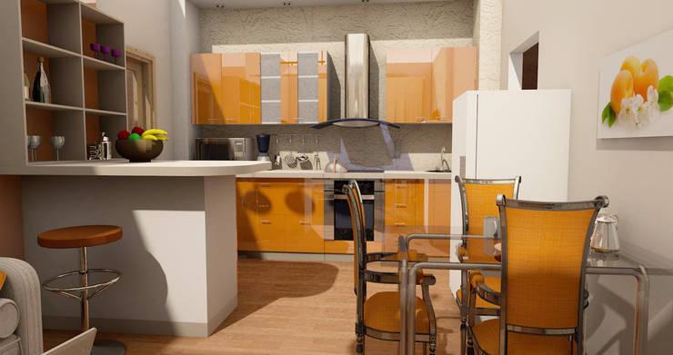 Визуализация кухни в оранжевом цвете:  в . Автор – Мастерская Дизайна