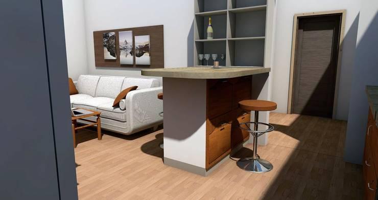 Визуализация гостинной зоны:  в . Автор – Мастерская Дизайна
