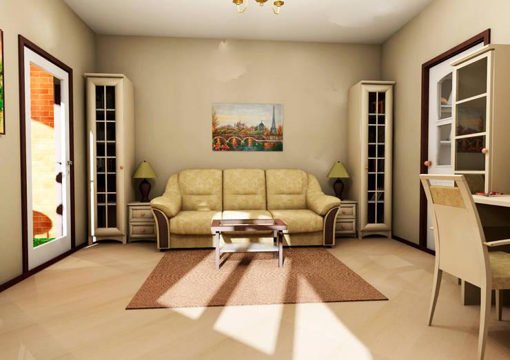 Гостиная-спальня:  в . Автор – Мастерская Дизайна,