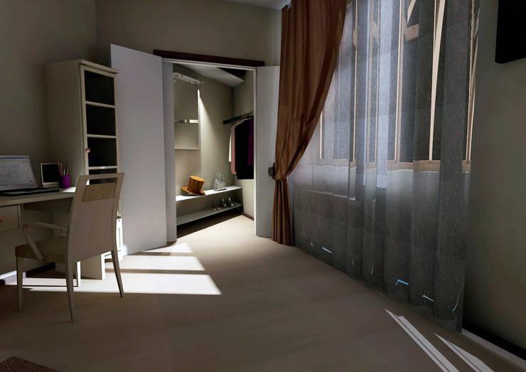 Вид на гардероб из гостиной:  в . Автор – Мастерская Дизайна,