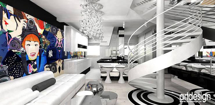 salon i kuchnia: styl , w kategorii Salon zaprojektowany przez ARTDESIGN architektura wnętrz