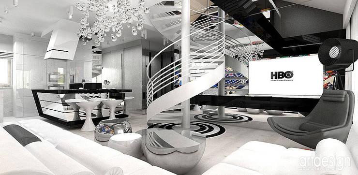 salon w apartamencie: styl , w kategorii Salon zaprojektowany przez ARTDESIGN architektura wnętrz