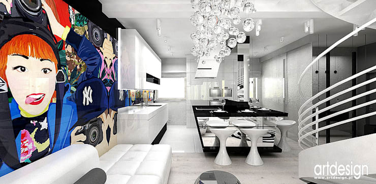 otwarta kuchnia w apartamencie: styl , w kategorii Kuchnia zaprojektowany przez ARTDESIGN architektura wnętrz
