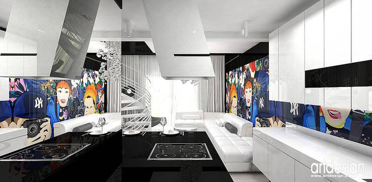 nowoczesna kuchnia z wyspą: styl , w kategorii Kuchnia zaprojektowany przez ARTDESIGN architektura wnętrz