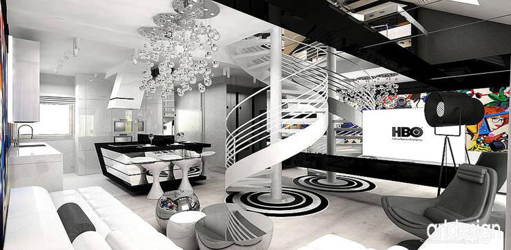 nowoczesne wnętrze apartamentu - salon z otwartą kuchnią: styl , w kategorii Salon zaprojektowany przez ARTDESIGN architektura wnętrz