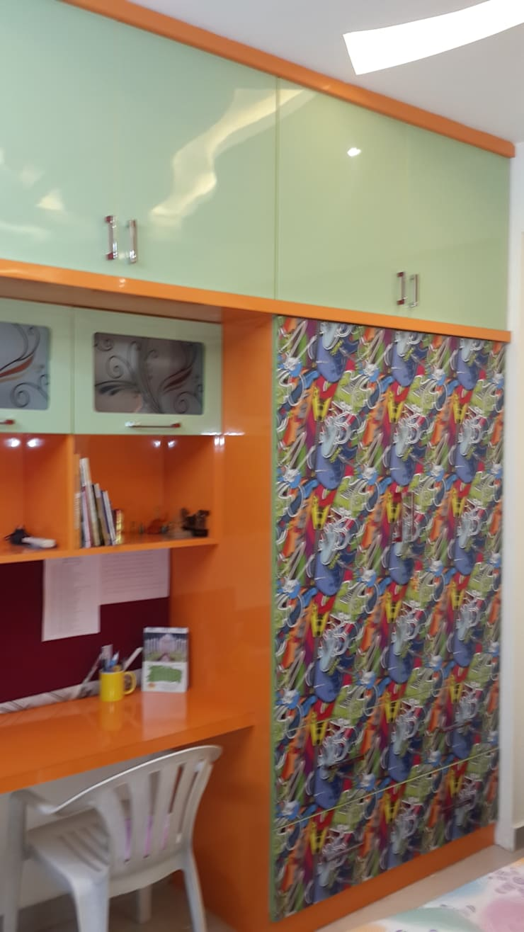 FLAT AT GACHI BOWLI : modern Nursery/kid's room by smileyinteriors