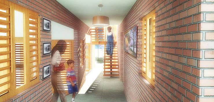 Casa Pátios: Corredores e halls de entrada  por Rede Arquitetos