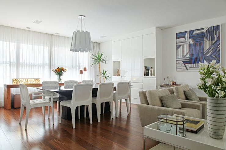Casa Brooklin: Salas de jantar minimalistas por Figoli-Ravecca Arquitetos Associados