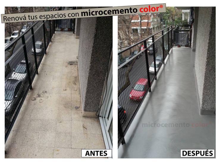 Microcemento aplicado sobre mosaicos graníticos existentes.:  de estilo  por Microcemento Color,