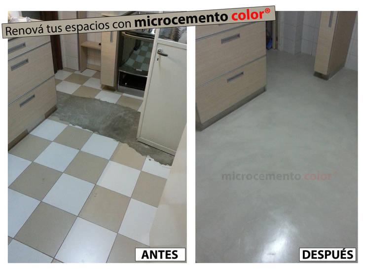 Microcemento aplicado sobre cerámicas esmaltadas existentes.:  de estilo  por Microcemento Color,