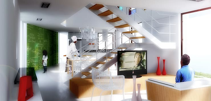 Casa S: Salas de estar  por Rede Arquitetos,