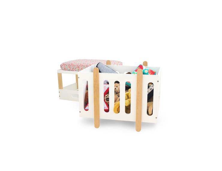 Juguetero y banca bee / mini cuna: Habitaciones infantiles de estilo  por Miostudio