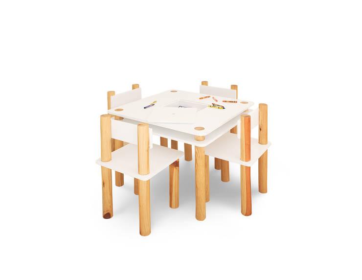 Mesa y sillas bee: Habitaciones infantiles de estilo  por Miostudio