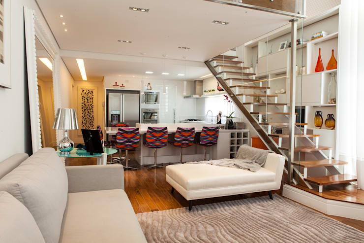 Conceito Loft: Salas de estar  por Lilian Barbieri Interior Design