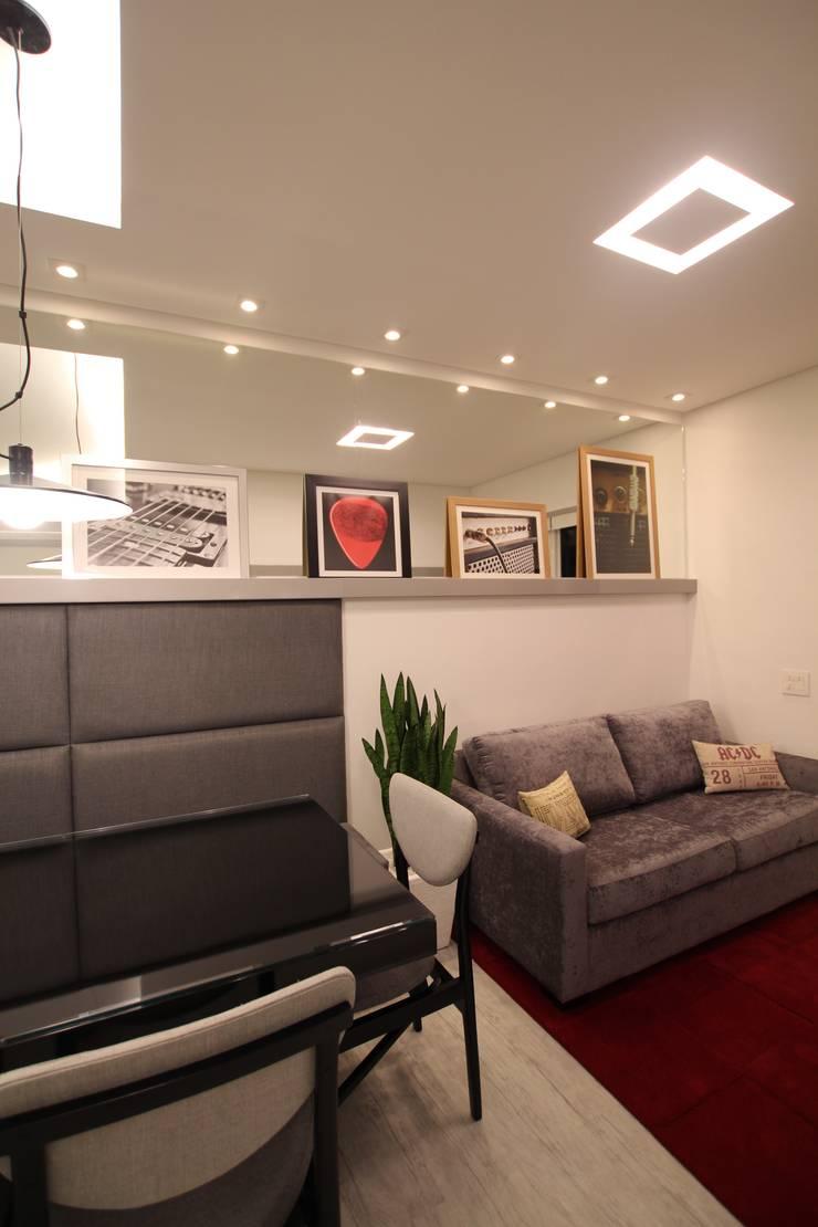 Sala de estar: Salas de jantar  por Pricila Dalzochio Arquitetura e Interiores