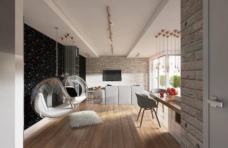 MAŁA RZECZ A CIESZY – PROJEKT KAWALERKI: styl , w kategorii Salon zaprojektowany przez Creoline,Nowoczesny