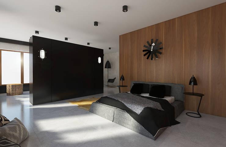 SPACE WHICH IS NOT AFRAID OF THE DARK COLOR : styl , w kategorii Sypialnia zaprojektowany przez Creoline