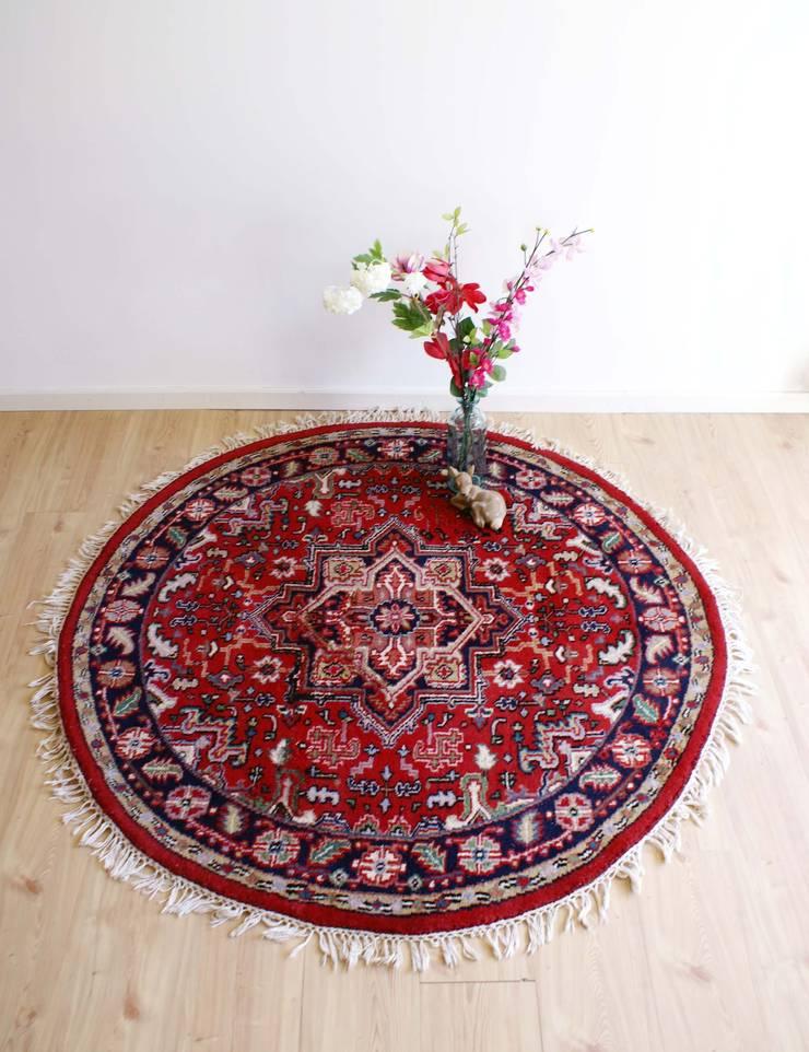 Rond handgeknoopt Heriz kleed. Vintage 'Perzisch' tapijt/wol :   door Flat sheep, Aziatisch Wol Oranje