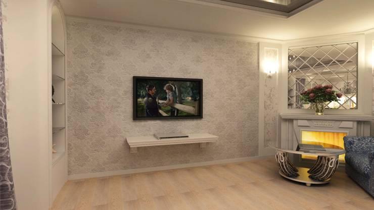 Классика на 50 метрах.: Гостиная в . Автор – Студия дизайна Ирины Комиссаровой