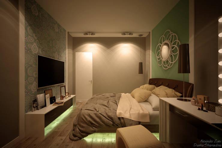 """Дизайн спальни в современном стиле в ЖК """"Панорама"""": Спальни в . Автор – Студия интерьерного дизайна happy.design"""